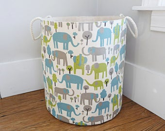 Extra Large Fabric Storage Hamper, Laundry Basket, Premier Prints Trunk Tales Elephants Fabric Organizer, Toy or Nursery Basket, Storage Bin