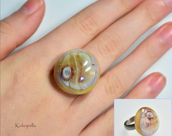Ringtop Lampwork bead for Murano glass ring, amber optic with zirconia, design by Kokopella