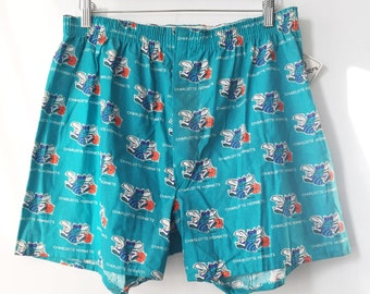 vintage charlotte hornets bottom drawers boxers mens size large deadstock NWT 90s made in USA
