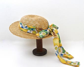 Wide Brim Straw Hat with Long Sunflower Bow Childs Vintage