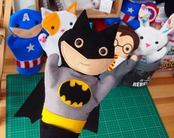 """Batman Inspired Felt Hand Puppet 28cm/11"""" tall"""