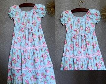 Blue Girl Dress - Floral Girl Dress - Blue Pink Green - Girl Size 12