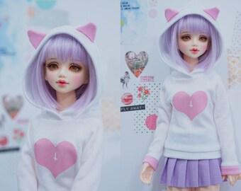 Slim MSD or SD BJD hoodie - Pink Cat Ears