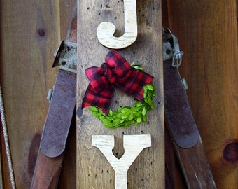 READY TO SHIP, Rustic Joy Sign, Rustic Christmas Decor, Christmas Mantle Decor, Birch Bark Christmas Sign, Wreath with Buffalo Check