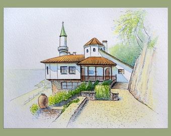 Original watercolor - Balchik Palace, Queen Castle, Bulgaria - pen, watercolor painting, original painting, art, wall decor, home decor