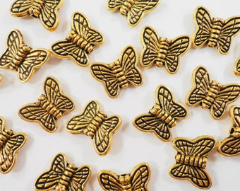 Gold Butterfly Beads 10x8mm Antique Gold Butterfly Beads, Butterfly Spacer Beads, Insect Beads, Nature Beads, Metal Beads for Jewelry, 30pcs