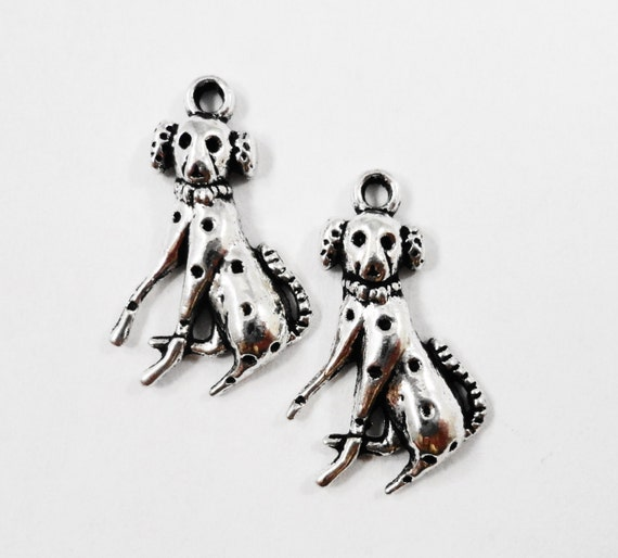 Spotted Dog Charms 21x13mm Antique Silver Dog Charms, Dalmatian Dog Charms, Pet Charms, Dog Pendants, Animal Charms, Metal Charms, 10pcs
