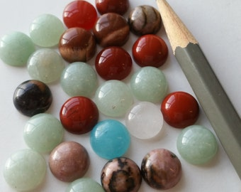 25 genuine stone cabs cabochons 10mm