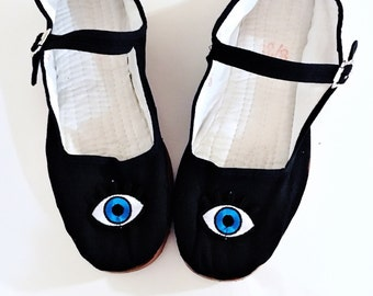Evil eye Cotton Mary Jane Shoes 90's  Any Size Limited Quanity