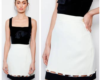 fab vintage 80s/90s MOSCHINO cut-out button detail monochrome mini skirt