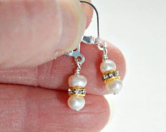 Mother of the Bride Gift,Mothers Day Gift,For Her,Dainty,Pearl,Earrings,Maid of Honor Gift,Confirmation Gifts For Girls,First Communion Gift