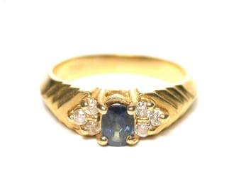 Vintage Sapphire Ring - 14k Yellow Gold Oval Natural Blue Sapphire and Diamond Ring - Size 6 - Natural Sapphire is VS Quality # 1398