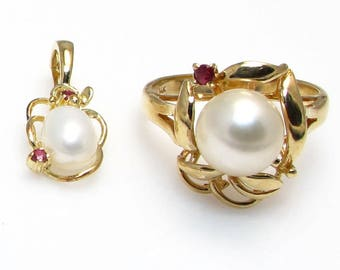 14k Yellow Gold Freshwater Cultured Pearl and Ruby Pendant Enhancer and Ring Set - Pearl and Ruby Set - Weight 6.2 Grams # 4060