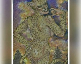 DC Villainess: Cheetah Original colored pencil illustration