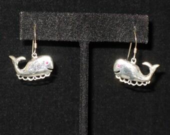 Sterling Silver Happy Whale Pierced Earrings