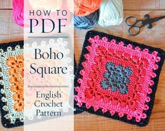 Granny square pattern Boho Square - DIY PDF English Crochet Pattern  - ready for immediate download - by CrochetObjet