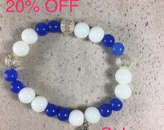 Men's Stretch Blue & White Beaded Spiritual Bracelet,  Faith Jewelry, Rosary Beaded Bracelet, Charm Bracelet