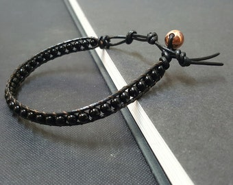 Onyx   Black  Leather Bracelet