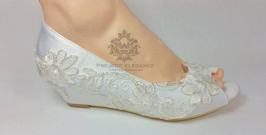 Ivory Satin Vintage Lace Peep Toe Wedge Low Heel Shoes Inch Mid Kitten Heel  Low Wedding Shoes Low Heel Wedding Shoes