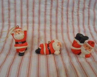 Mini Hard Plastic Trio Of Santa Claus Ornaments