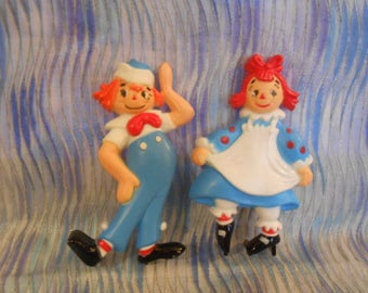 Vintage Raggedy Ann and Andy Cake Toppers
