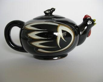 Rooster Vintage Teapot Black Ceramic Made in Japan