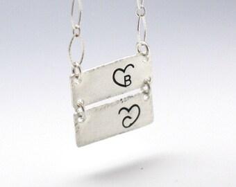 Personalized Bar Neckalce Heart Initial Hand Stamped Initials Necklace Personalized Mothers Necklace Hand Stamped Jewelry Couples Necklace