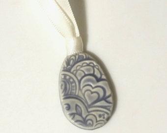 Blooming Heart Textured Easter Egg Ornament,  Easter  Decor,  Elegant Ceramic Ornament