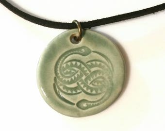 Snake Totem Necklace, Spirit Animal Necklace, Ceramic Pendant