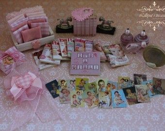 Dollhouse miniature set for baby girl  3 - IT'S A GIRL- OOAK