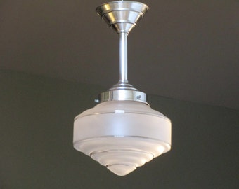 French Art Deco SKYSCRAPER Light Fixture 1930s Clear and Acid Etched Glass - Great for Smaller Spaces- Authentic Fittings and Shade