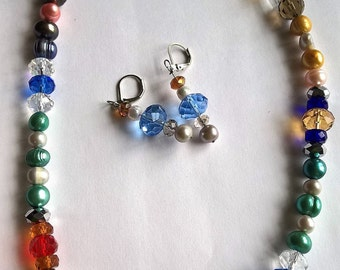 """Necklace Earring Set- Unique Colorful Dyed Freshwater Pearl & Crystal Bead 20"""" Necklace: Green, Blue, Yellow, White with Leverback Earrings"""