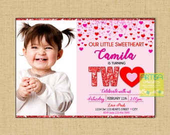 Valentines Birthday Invitation, Valentine's 2nd birthday invitation, Valentines 2nd birthday, 2nd birthday hearts, Valentines Invitation Two