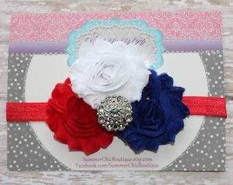 Fourth of July Baby Headband, Infant Headband, Newborn Headband,  Memorial Day Headband, Red, White, and Blue Headband