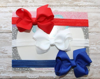 Red, White and Blue Baby Headband, Fourth of July Headband, Bow Headband, Baby Headbands, Infant Headband, Newborn Headband, Headband Set