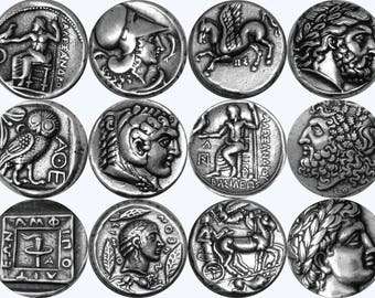 9 Most Famous Ancient Greek Coins, Antique Silver Finish, (Set9-S)
