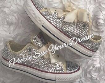 Custom Bridal Swarovski Crystal Ivory Converse Wedding Shoes - Swarovski Crystal Wedding Shoes - Swarovski Rhinestone Converse - Bride Shoes