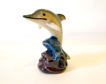 Vintage 1990s Ceramic Dolphin Statue