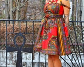 NIA - African Print Red Dashiki Java Wax Print Dress