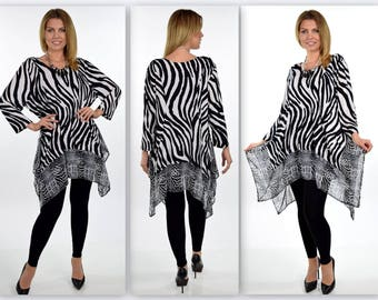 Stunning, Dare2bstylish Tunic, Mix and Match Tunic, Plus size tunic, Zebra print tunic, Lagenlook Tunic, 1xl, 2xl, 3xl
