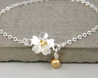 Silver Gold Flower Bracelet, Delicate Silver Flower Bracelet, Dainty Pearl Dangle Bracelet Sterling Silver Chain |BB1-12