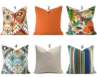 Outdoor Pillows Decorative Pillows Outdoor Pillow Covers ANY SIZE Pillow Cover Orange Pillows Blue Pillows You Choose