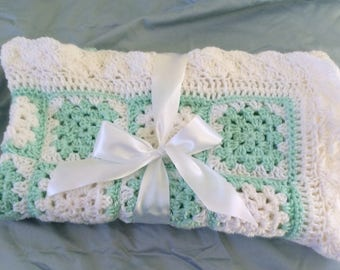 Baby Blanket Christening Blanket Mint green and white**Free Shipping**