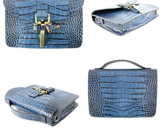Blue 9″ x 7″ x 2″ Cross Body Bag Embossed Crocodile Fine Italian Calf Leather, black suede lining, inside slip pocket, made in NY