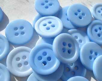 15mm 4-hole Blue Buttons, ABS Blue Plastic Buttons, Pack of 20 Blue Buttons AS1550
