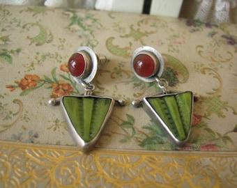 Vintage 1980's Janice Lee Ripley Sterling Silver Carnelian Died Bone Modernist Art Earrings Artist Signed JLR 925 Pierced Earrings