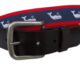 Nautical White Whale Belt/ Leather Belt / Canvas Belt / Preppy Webbing Belt for Men, Women and Children/White Whale on Navy