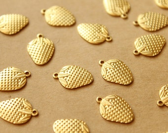 6 pc. Small Raw Brass Strawberry Charms: 15.5mm by 11mm - made in USA | RB-962