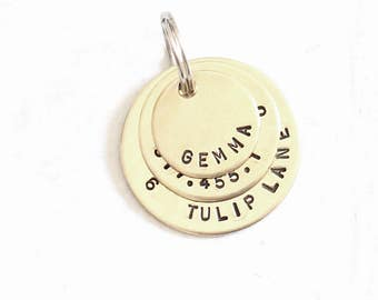 Brass Pet ID Tag- Scan my Chip Personalized Dog Tag for Dogs - Gemma 1.25""