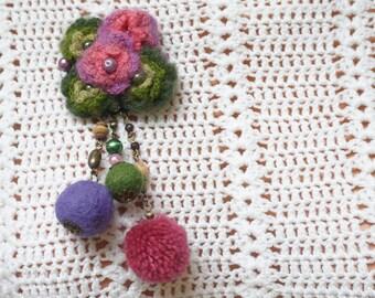 Brooch pin felt crochet flower pompom pom balls pink purple green olive faux pearl modern abstract wool beads ooak wooden bobble tassel